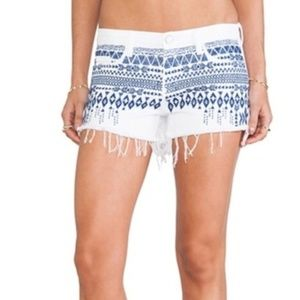 BLANKNYC White Blue Embroidered Shorts Size 28